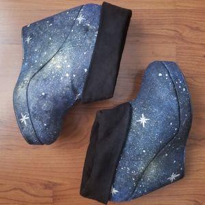 Handpainted celestial wedge booties